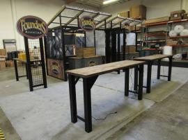 Modular Outdoor Serving Stations for a Brewery with Tables, Counters, Ceilings, and Graphics