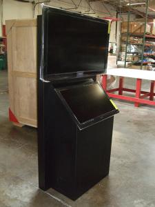 Custom Wood Kiosk with Air Vents, Wire Management, and a Shipping Crate -- Image 1