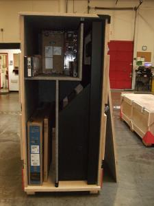 Custom Wood Kiosk with Air Vents, Wire Management, and a Shipping Crate -- Image 2