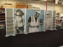 Custom Visionary Designs Inline Display with Shelves, Fabric Graphics, and Clothing Rod -- Image 1