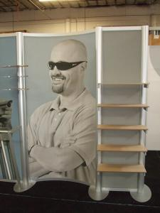 Custom Visionary Designs Inline Display with Shelves, Fabric Graphics, and Clothing Rod -- Image 2