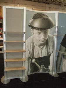 Custom Visionary Designs Inline Display with Shelves, Fabric Graphics, and Clothing Rod -- Image 3