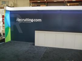 Custom Modular Exhibit with Direct Print Graphics, LED Header Lights, and Storage. Converts to 10 x 10 -- Image 1