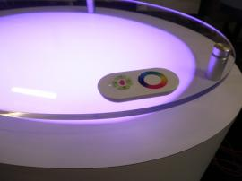Modular Laminate Pedestal with Remote Controlled Lights and Locking Storage -- Image 4