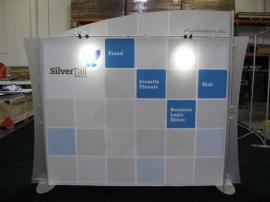 ECO-1028 10x10 Exhibit with Recycled Fabric Graphic, GreenCore Header and LED Lighting
