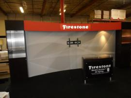 Custom SEGUE Inline Exhibit with Towers, Shelves, Header, Silicone Edge Graphics, and MOD-1162 Counter -- Image 1