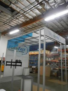 RENTAL: Island Rental with 14 ft. Tower, Lounge, Large Format Graphics, RE-1228 Curved Counter, RE-1219 Square Pedestal, and Blue Acrylic Accent Tiles and Infill Panels -- Image 2