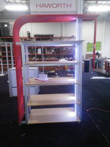 Custom Product Kiosk with LED Lights, Shelves, iPad Swivel Mount, and Tension Fabric Accents -- Image 1
