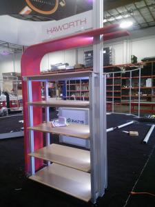 Custom Product Kiosk with LED Lights, Shelves, iPad Swivel Mount, and Tension Fabric Accents -- Image 2
