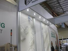 eSmart Customized ECO-2033 with Fabric Graphics, LED Lights, and Extended Center Section.  Shown with the ECO-4C Podium -- Image 3