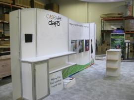 Custom eSmart 10x20 with Curved Metal, Fabric Graphics, Shelving, Storage, Monitor Mount, and Custom Wire Graphics -- Image 2