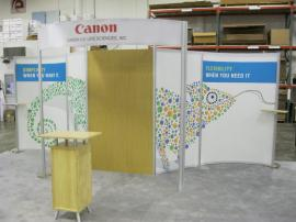 eSmart ECO-2003 with Fabric Graphics, Large Header, and ECO-1C Bamboo Podium -- Image 1