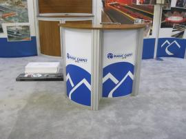 eSmart ECO-2018 with Fabric Graphics, Bamboo Counter Tops, Large Monitor Mount, Divider Wall, and ECO-3C Podium -- Image 3