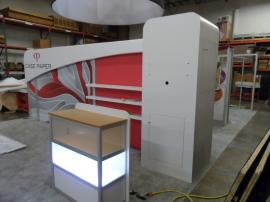 Custom eSmart with 10x10 Conversion.  Includes Large AERO Header, Storage Closet, Product Shelves, and Custom Base-lit Display Case -- Image 2