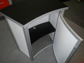 RE-1015 with SEG Fabric Graphic, Halogen Arm Lights, and RE-1227 Small Curved Reception Counter -- Image 4