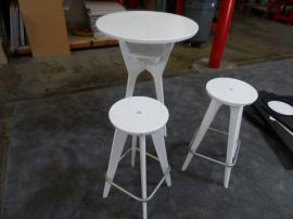 OTM-100 White Portable Brandable Table and Chairs (shown without graphic inserts)