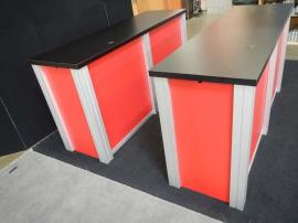 (2) RE-1207 Large Rectangular Counters with Red Sintra Infill Panels, and Custom Velcro Attached Doors on Ends -- Image 1