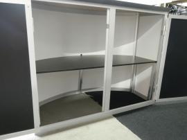 RENTAL:  Modified RE-2009 with Arch Canopy, (6) Small Monitor Mounts, (1) Large Monitor Mount, (2) RE-1228 Counters, (4) RE-1250 Counters, (10) RE-170 Literature Shelves, and (1) RE-1229 Large Monitor Kiosk -- Image 4
