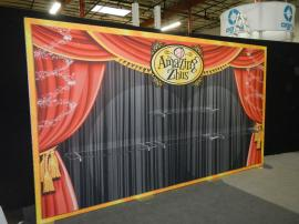 RENTAL: Extrusion Backwall with SEG Fabric Graphics and (4) Clear Acrylic Shelves -- Image 2