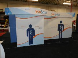 SEGUE Custom Inline Exhibit with Tension Fabric Graphics, (3) Counters with Storage, and Conversion Graphics and Hardware to 10 ft. Version -- Image 1
