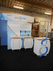 SEGUE Custom Inline Exhibit with Tension Fabric Graphics, (3) Counters with Storage, and Conversion Graphics and Hardware to 10 ft. Version -- Image 2