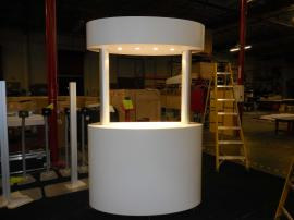 Custom Wood Kiosk with Overhead Lights, Storage, and Casters -- Image 1