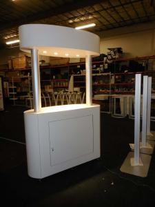 Custom Wood Kiosk with Overhead Lights, Storage, and Casters -- Image 2
