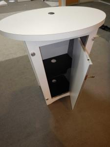RENTAL: Modified RE-1011 with Tension Fabric Graphics, Halogen Arm Lights, Cubby Shelf, and RE-1201 Tapered Counter -- Image 5