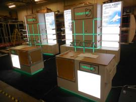 Custom Inline Exhibit with Shelving, Counters, Product Displays, Storage, Lightboxes, and Programmable LED RGB Lighting -- Image 2
