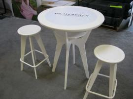 Portable OTM-100 White Table with Insert Graphics and Custom White Footrest