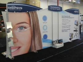 eSmart Inline Exhibit with (4) Frosted EcoGlass Wings, Lightweight Tension Fabric Graphics, Direct Print Graphics, (3) Adjustable Literature Racks, Monitor Mount and Custom Lighting Package -- Image 2
