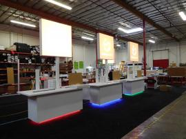 Custom Combination Cabinets, Lightboxes, and Monitor Stands with LED Programmable Lights