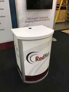 RENTAL: RE-1221 Curved Pedestal with Sintra Graphics