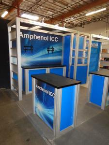RENTAL:  (1) RE-1207 Counter with Locking Doors and Interior Shelves, Tension Fabric Graphics for Backwall, and Sintra Graphic Infill Panels for Counters and Display Case