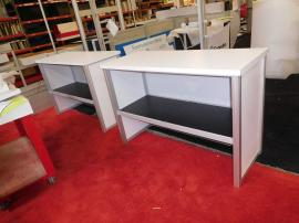 (2) Modular Serving Tables with Graphics and Rear Shelf
