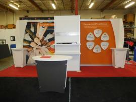 Custom Visionary Designs Exhibit with (2) LTK-1001 Pedestals and (1) Custom Tapered Counter
