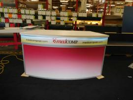 Custom Counter with Backlit Fabric Graphic, LED Lighting, and Locking Storage