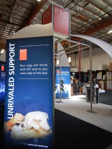 Silicone Edge Graphic Lightboxes with White Canopies on a 20 x 20 Island (Rental)