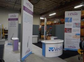 RENTAL DISPLAY: (4) 12 ft High Double-Sided Graphic Kiosk with (4) Counters