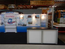 RENTAL: Inline Small and Large Clear Acrylic Shelves, Custom Product Display Kiosk, Tension Fabric Graphics, and Sintra Header and Counter Graphics