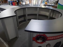 RENTAL: RE-1226 Circular Counter with Black Laminated Top and (7) Sintra Infill Graphics