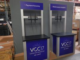 RENTAL: (4) RE-1232 Counter Kiosks with Large Monitor Mounts and Sintra Graphics