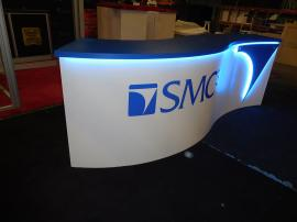 Custom Curved Counter with LED Accent Lights, Standoff Logo, Storage, and Wire Management