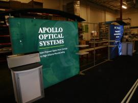 Custom SuperNova LED Lightbox Exhibit with Canopies, Backwall Counters, Shelves, and Tension Fabric Graphics
