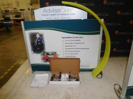 ecoSmart ECO-104T Table Top Display with Fabric Graphics, Direct Print Header, and Accent Curve with Pillowcase Graphic