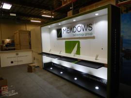 Custom Gravitee One-Step Inline Exhibit with Shelves, Conference Wall, Product Shelves, and Graphics
