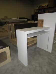 Custom Workstation with Monitor Mount, Shelf, USB Charging Ports, and Wire Management Access Panel