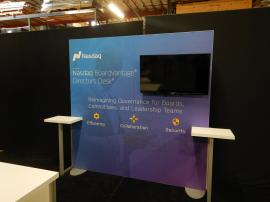 "RENTAL: RE-1041 Rental Design with Added Large Monitor Mount, 43"" Monitor, RE-1567 Backlit Counter, and Graphics SEG Fabric Graphics"