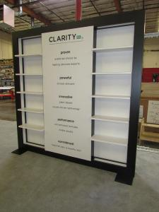 Custom Lightbox Kiosk with Backlit Graphics, Perimeter Lighting and Product Shelves