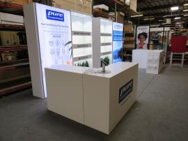 Custom Gravitee One-Step Inline Exhibit with SuperNova Lightboxes, Reception Counters with Locking Storage, Shelves, Puck Lights, and MOD-1371 Rotating iPad Stands.